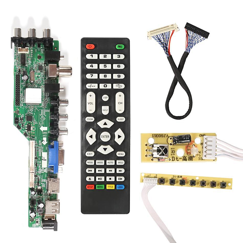Driver digital 3663 DVB-C dvb-t universal, placa de controle lcd para tv, atualização 3463a, jogo usb russo lua63a82 DVB-T2