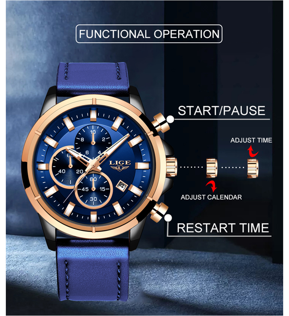 H4ac39c4ae36d42f091c4bea8ada83ae4E LIGE Casual Sports Watches For Men Blue Top Brand Luxury Military Leather Wrist Watch Man Clock Fashion Chronograph Wristwatch