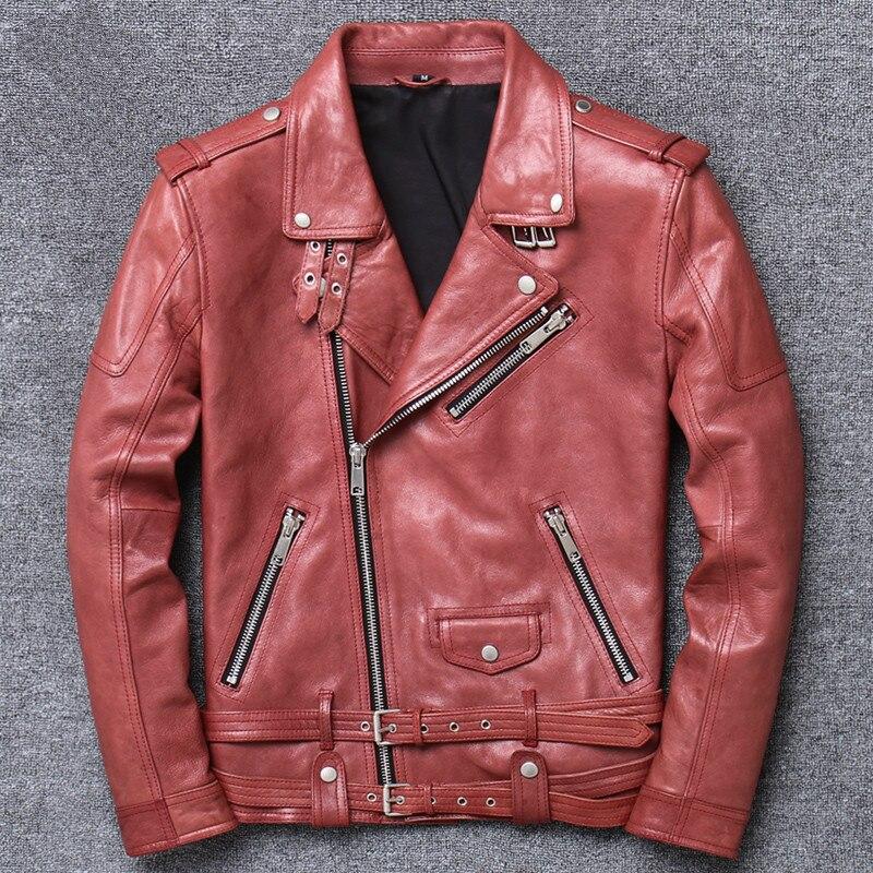 Vintage Leather Jacket Men Spring Sheepskin Genuine Leather Jacket Motorcycle Slim Mens Leather Jacket Casaco V-17003 YY1021