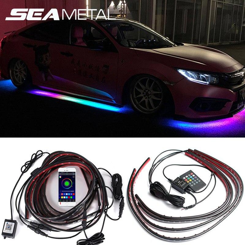 Автомобильный светящийся неоновый акцент полоса светильник комплект 8 цветов звуковой активный функция приложение/пульт дистанционного у...