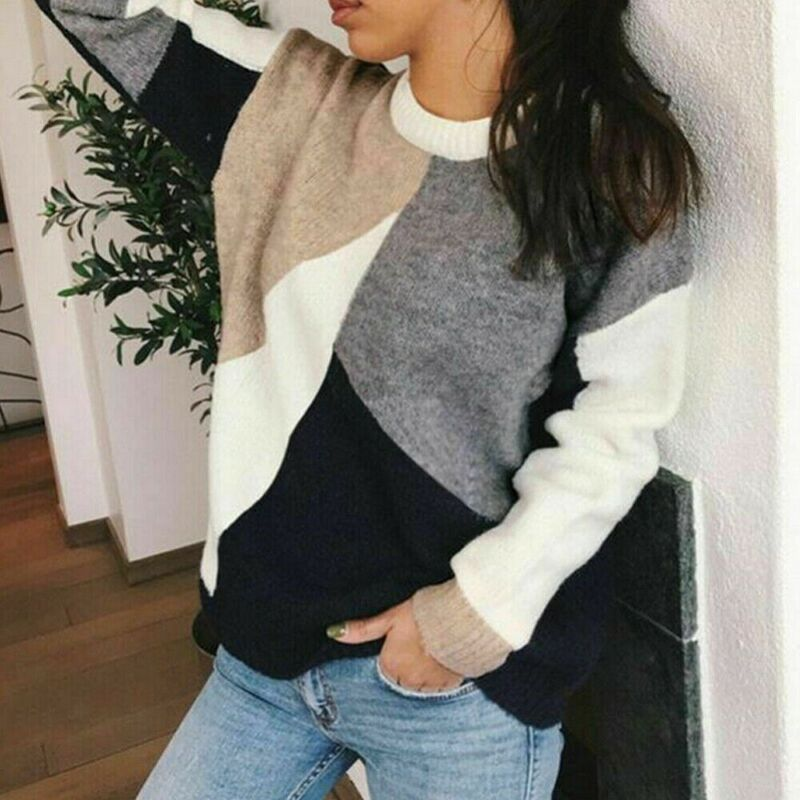 Sweater Women Warm Top Sweater invierno mujer 2020 Ladies Autumn Long Sleeve Geometric Splice Pullover Blouse Casual Tops New