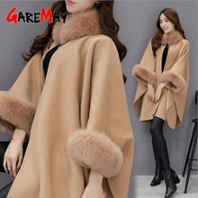 Winter Fur Coat women's Cape Jacket Plus Size Batwing Fluffy Sleeve Warm Fur Cape Women Overcoat Cloak Poncho Shawl Coat Female(China)