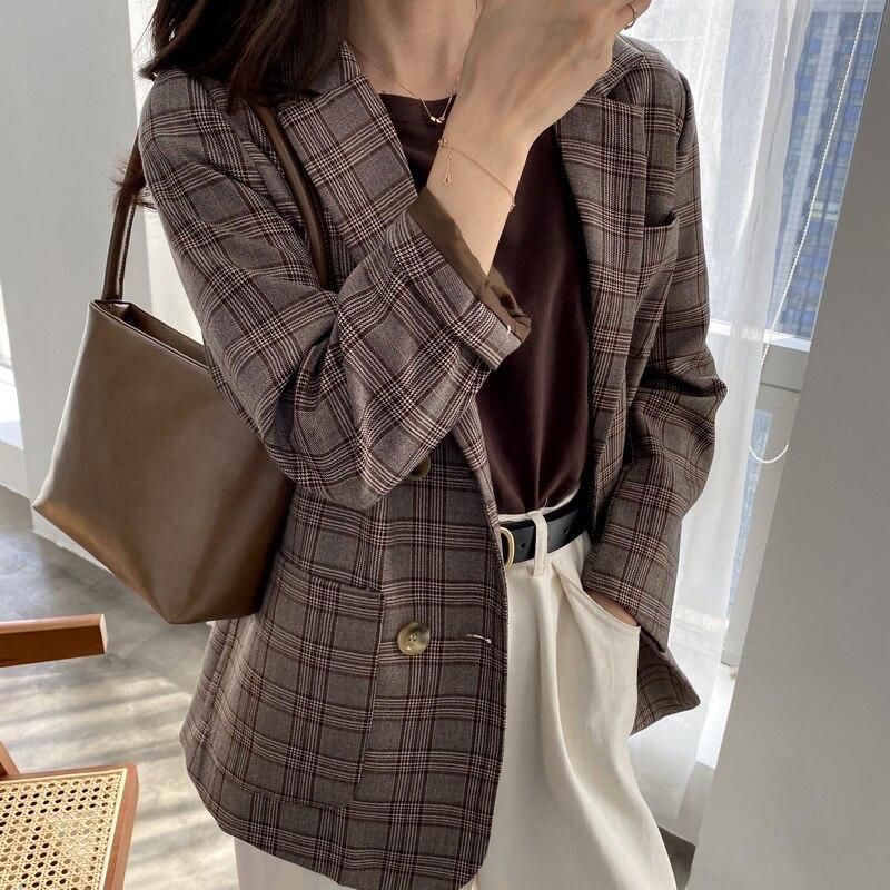 Vintage Plaid Blazer Suit Coat Women Tops 2020 Lattice Chic Loose Coat Double-breasted Casual Suit Blazer Jacket Ladies Outwear
