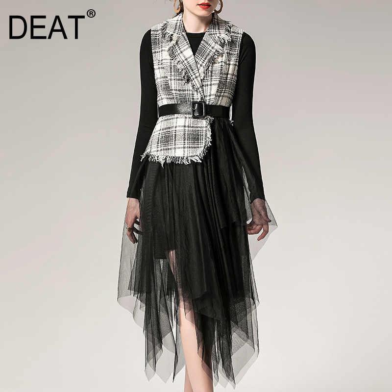 [DEAT] 2019 秋のファッショントレンド新柄ゴシックメッシュラフブラウスメッシュ Mid 長さスカートツーピースセット女性のドレス AI658