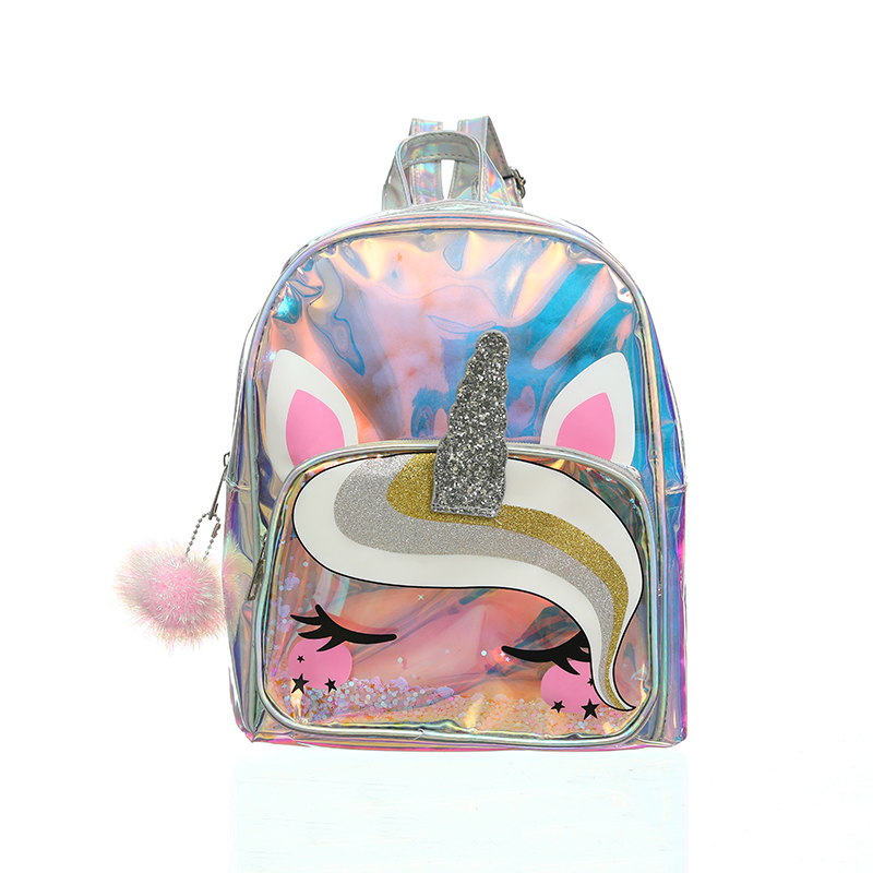 Women Laser Cartoon Unicorn Backpack Transparent PVC Sequin Glittering Clear Schoolbag Girl Waterproof Holographic Bag Wholesale