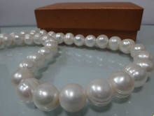 "Fast SHIPPINGHUGE 12-14MM NATURAL SOUTH SEA WHITE BAROQUE PEARL NECKLACE 18"" LL002 NEW(China)"