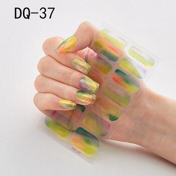 14pcs/sheet Glitter Gradient Color Nail Stickers Nail Wraps Full Cover Nail Polish Sticker DIY Self-Adhesive Nail Art Decoration 76