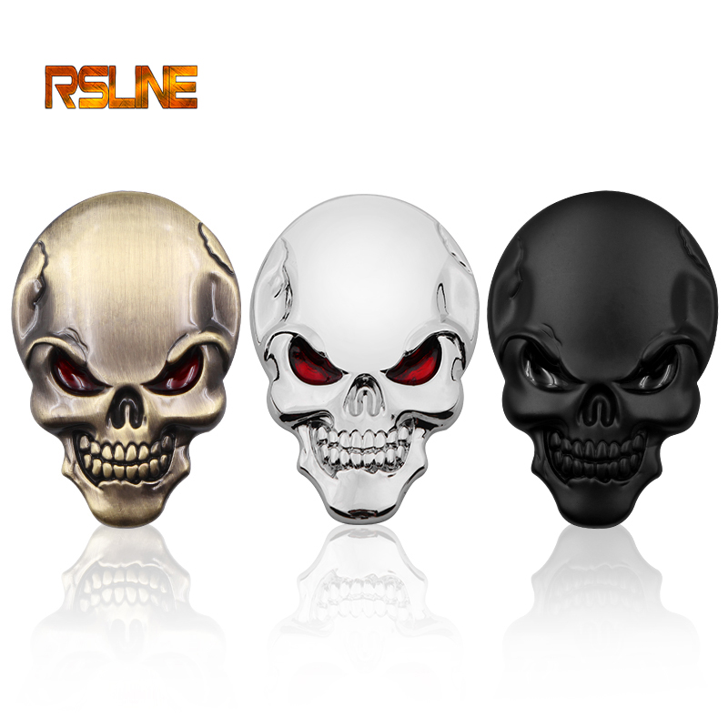 1 PCS 3D Skull Zinc Alloy Metal Car Sticker For The Car Motorcycle Volkswagen Logo Skull Emblem Badge Car Styling Stickers