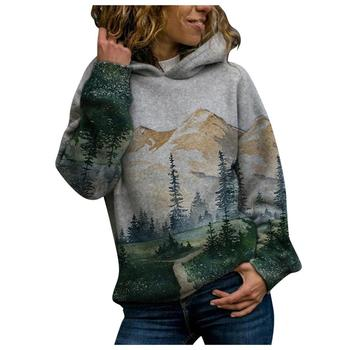 2020 Women's Casual Mountain Print Sweatshirts Thermal Crewneck Long Sleeve Hoodies Loose Black Tracksuit Streetwear clothes 8