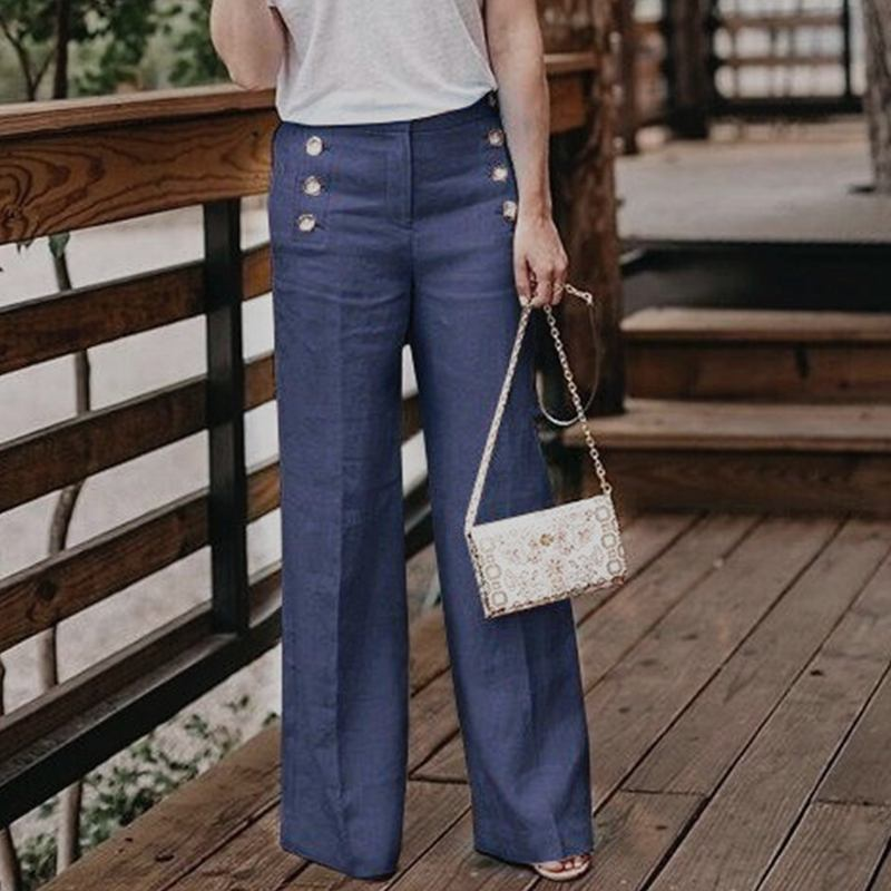Fashion Women High Waist Wide Leg Pants Casual Solid Cotton Linen Trousers Autumn Work OL Pants Robe Femme Buttons Pantalon