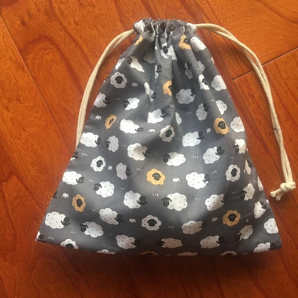 Cotton Drawstring Pouch Home Organized Party Gift Bag Animal Sheep Black Head 20312g