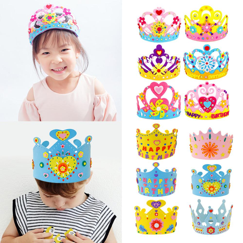 Handmade Crown Kit DIY Birthday Tiaras Hat Material Set Crafts Toys For Kids Children Boy Girl Toddlers Random Style