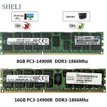 Memória registrada do servidor rdimm de sheli 8 gb/16 gb PC3-14900R 1866 mhz 240pin ecc