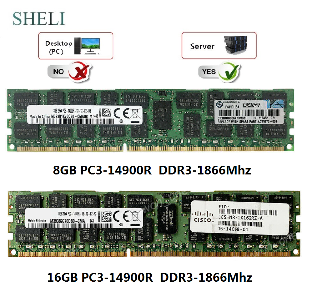SHELI 8GB/16GB PC3-14900R 1866MHz 240PIN ECC Registered RDIMM Server Memory image