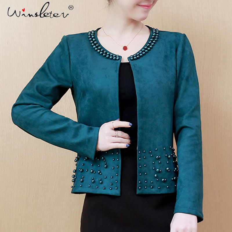 S-4XL Plus Size Womens Suede Blazer Cardigans Spring Pearls Short Tops Long Sleeve O-neck Casual Jackets Clothing C03302B