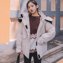 Women fur collar hooded Parker winter Female coat jacket loose street warm thick