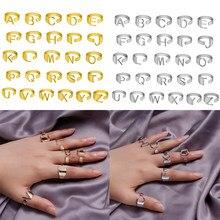 Vintage Gold Chunky Breite Hohl A-Z Brief 3 Farben Metall Einstellbare Initialen Alphabet Finger Ring Frauen Party Mode Schmuck