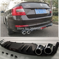 High Quality ABS Black Rear Bumper Lip Trunk Spoiler Rear Diffuser Protector With Hole Car Styling For Skoda Octavia 2014 2018