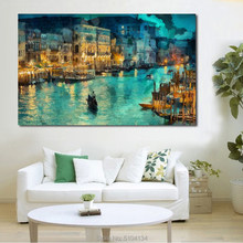 EEN kleine stad's nachts Gracht building Handgemaakte Olieverf Canvas Wall Art Foto Op Canvas Poster Home Decor Canvas geen Frame(China)