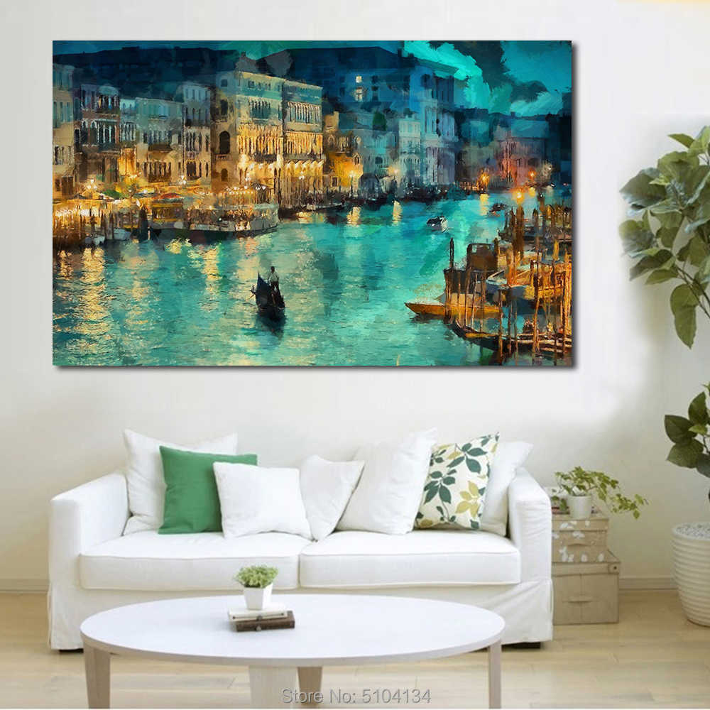 A small town at night Moat building Handmade Oil Painting Canvas Wall Art Picture On Canvas Poster Home Decor Canvas No Frame