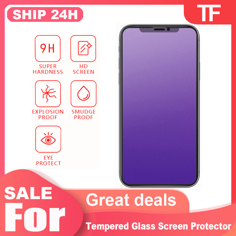 Glass screen protector For <font><b>iPhone</b></font> 11 Pro <font><b>XS</b></font> MAX protective <font><b>film</b></font> <font><b>iPhone</b></font> <font><b>X</b></font> Xr <font><b>Xs</b></font> XsMAX 11Pro matte purple hd protective <font><b>film</b></font> image