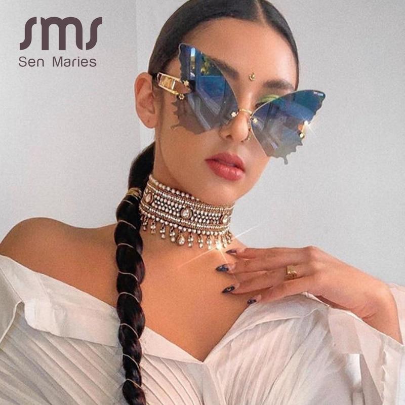 Sen Maries – Lunettes de soleil sans monture, en forme de papillon, pour femme, marque de luxe, styliste tendance, surdimensionnée, Steampunk, style Vintage, UV 400