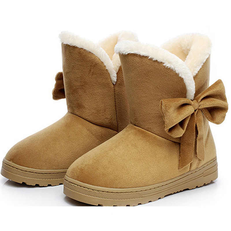 Women Snow Boots Winter Boots Fur Ankle Boot Female Bowtie Warmer Plush Suede Rubber Flat Slip On Fashion Platform Ladies Shoes