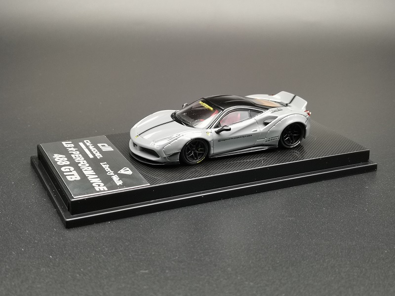 CM Performance Luxury Sports Racing Supercar 488 GTB Grey Diecast Toy Liberty Walk 1:64 Model Car Vehicle With Display Box