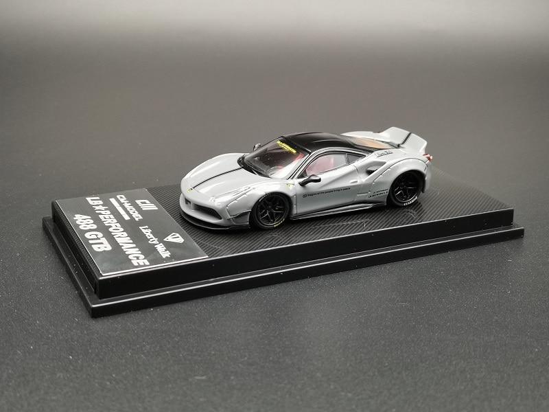 CM Performance Luxury Sports Racing Supercar 488 GTB Grey Diecast Toy Liberty Walk 1:64 Model Car Vehicle With Display Box