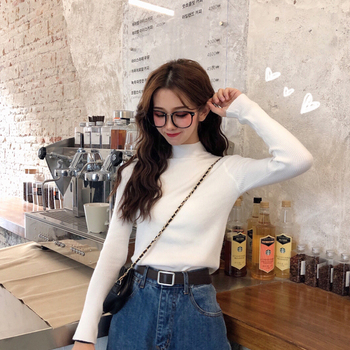 2019 Autumn Winter Women Knitted Turtleneck Sweater Casual Soft Polo-neck Jumper Fashion Slim Femme Elasticity Pullovers 4
