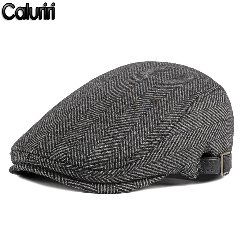 2022 Winter Cap for Men Warm Berets Men's Fashion Newsboy Cap Dad Hats High Quality Tweed Flat Cap Casquette Gorras ZZ-227