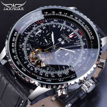 цена Jaragar Automatic Men Watches Pilot Style Tourbillon Calendar Display Black Genuine Leather Band Business Sport Mechanical Clock онлайн в 2017 году