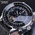 Jaragar Orologi Automatici Degli Uomini di Stile Pilota Tourbillon Calendario Display Nero della Fascia del Cuoio Genuino di Affari di Sport Orologio Meccanico