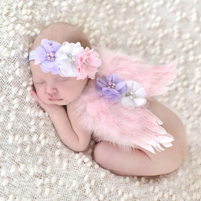 Newborn Baby Wings+Headband Flower Costume Photo Photography Prop Outfits Angel Fitted Wing Set Feather Photo Prop Headband 0-6m