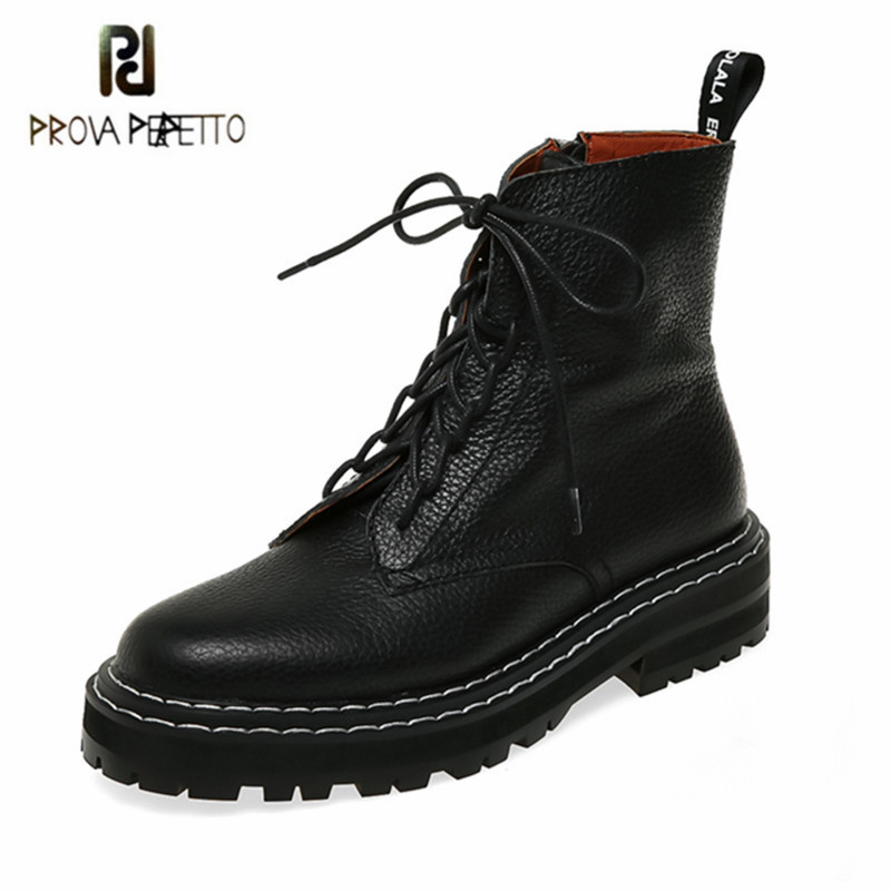 Prova Perfetto Ankle Boots For Women Lace Up Thick Bottom Boots Round  toe Zipper Leather Boots Sexy Outdoors Party Women Boots|Ankle Boots|   - AliExpress