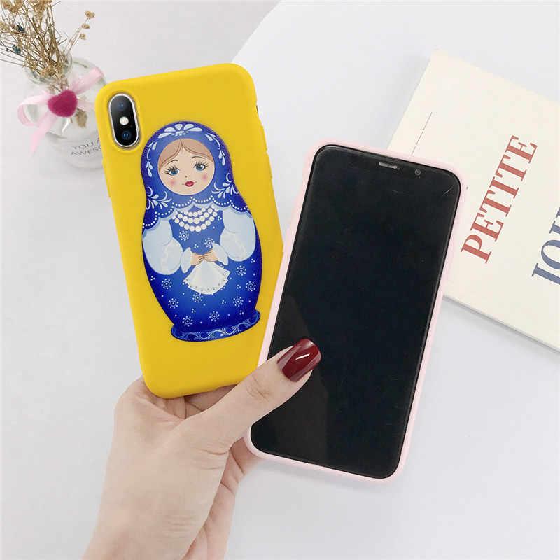 Moskado russe poupée couverture de téléphone pour iPhone 7 8 7plus 6 6S Plus doux dos étui pour iPhone 11 X XR XS Max Matryoshka couverture de téléphone