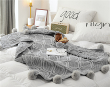 100% cotton solid knitted blanket with ball nordic modern Soft plaid blanket for bed Chair sofa couch home decorative blankets разбрасыватель сеялка gardena 3 л насадка для комбисистемы 00420 20