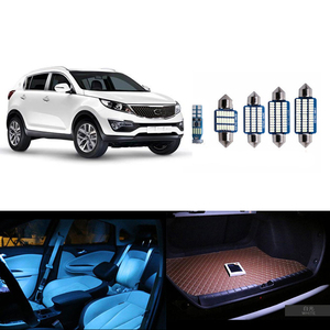 9pcs White LED Lamp T10 W5W Car Bulbs Interior Package Kit Map Dome Trunk Glove Box Light Fit for Kia Sportage 2011-2016(China)
