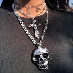 New Ins Hip-hop Dark Cross Necklace Simple Metal Cross Clavicle Chain Choker Pendant Necklaces For Women Men Fashion Jewelry