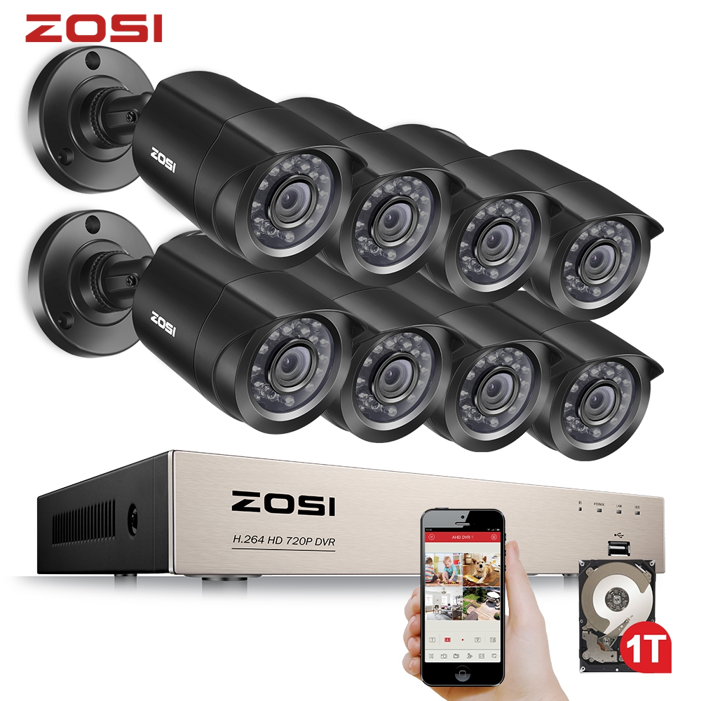 ZOSI 8CH Video Surveillance System 8x720P 1.0MP Outdoor/Indoor IR Weatherproof Home Security Cameras HD CCTV DVR kit|hdd 1tb|hdd camerahdd 1 - AliExpress
