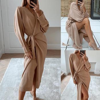 Femmes automne hiver couleur unie à manches longues tricoté ceinture ajustable Robe Maxi Robe femmes vêtements 2020 1