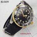 Повседневные 40 мм Bliger стерильный черный циферблат сапфировое стекло GMT Дата керамический ободок нейлон move мужские часы