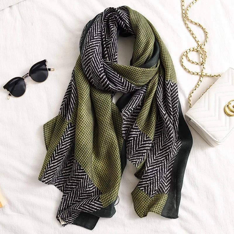 Luxury Women Brand Cotton Scarf Large Shawls Pashmina Hijab Foulard Echarpe Design Print Lady Beach Stole