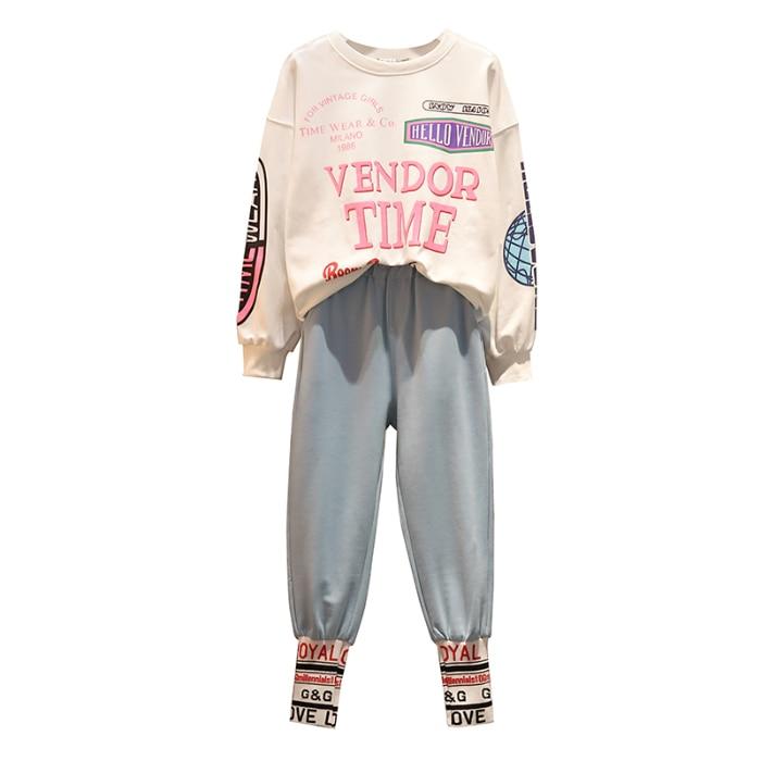 L-4xl Casual Korean Two Piece Sport Sets Outfits Women Plus Size Letters Print Sweatshirts And Pants Suits Fashion Kawaii Tracksuits Sets 54