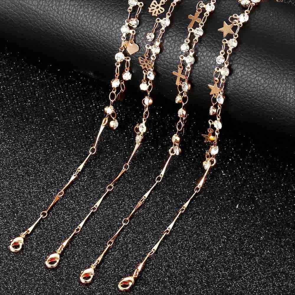585 ローズゴールド女性アンクレットブレスレットボウタイハートスター Cz チャームロロチェーン女性の足のジュエリーファッション長さ調節 DCAM01