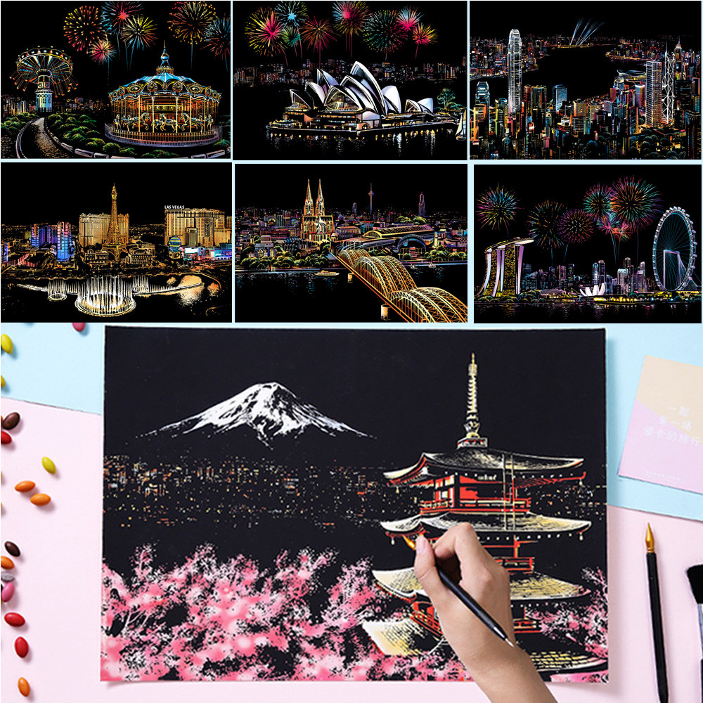Adult Decompression Scratch Painting Toys Magic Scratch Art Painting Paper Night Scene Diy Manual Scratch Painting Children Toys
