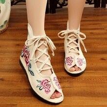 Botas Vintage Floral para Mujer, Zapatos planos informales bordados De tela De algodón, Zapatos De moda para Mujer, botas Harajuku, Zapatos De Mujer para Mujer