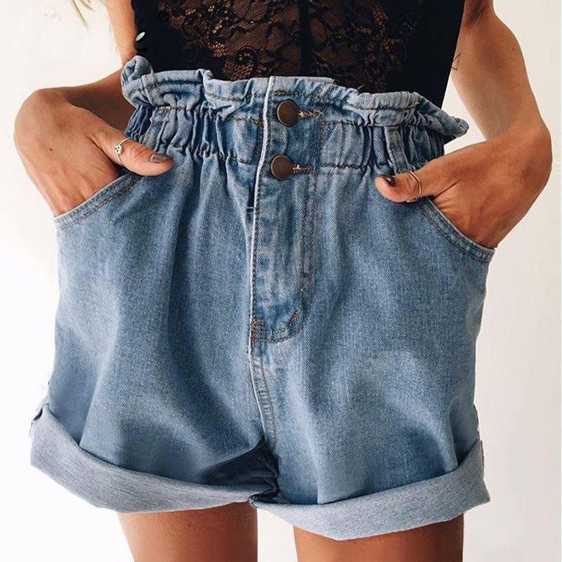 Summer New Women Denim Shorts Vintage Light Blue Solid Fashion High Waist Loose Casual Female Jeans Shorts