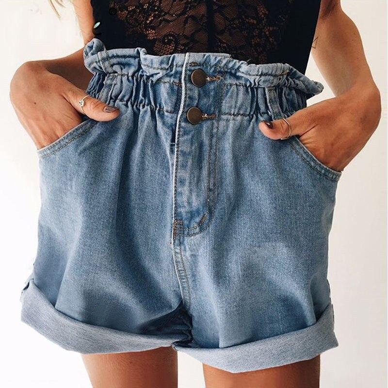 Summer New Women Denim Shorts Vintage Light Blue Solid Fashion High Waist Loose Casual Female Jeans Shorts