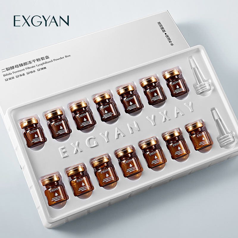 División de levadura suero Facial Freeze-Dried de conjunto de cajas reducir los poros hidratante iluminar cuidado de la piel Anti-envejecimiento